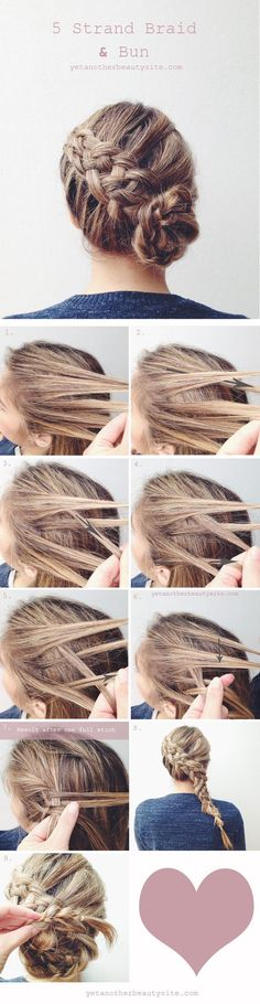 diy 5 strand braid and bun wedding hairstyles: