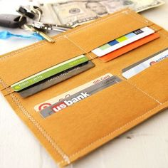 Quick and Easy Kraft Wallet Project - free project instructions.  Uses Kraft-Tex paper fabric.