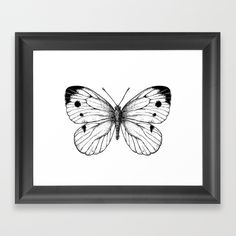 """""""Cabbage butterfly"""" Framed art print #society6 #print #butterfly #ink #clothing #katerinakart"""