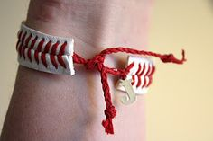 Baseball string bracelet....this one reminds me of a certain Reds fan I know & love :)
