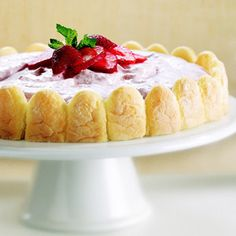 Strawberries are in season!  Time to make this delicious strawberry chiffon dessert with lady fingers.  Use all-natural Truwhip for your whipped topping. www.truwhip.com