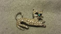 Silver Toned Cat Brooch / Pin with Plastic Rhinestones #Unbranded