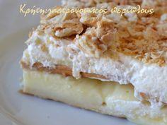 No bake mille-feuille Greek Desserts, Greek Recipes, Cream Crackers, Sweet Bakery, Food To Make, Dairy, Pie, Cheese, Baking