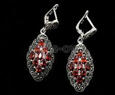 New Women Fashion 925 Sterling Silver marcasite ruby Earrings Jewelry