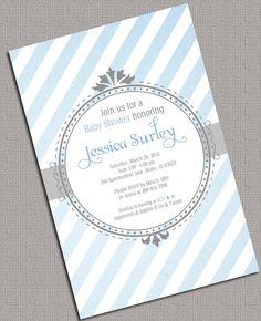 Printable Baby Shower Invitations Boys, Grey, Blue, Stripe - 874. $15.00, via Etsy.