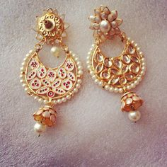 White Kundan Pachi Jhumki - Online Shopping for Earrings by Ze Panache-Jewellery-Ze Panache