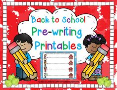 Six color and six blackline pages for your pre-writers of slide right and pull down strokes are included. Printables reinforce left to right and top to bottom concepts. See the full preview in my TPT store!