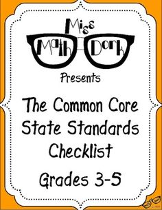 FREE: MATH Common Core State Standards 3-5 Checklist