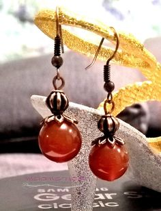 Copper earrings with natural Carnelian natural carnelian