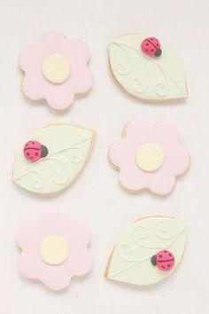 flowers and ladybug cookies