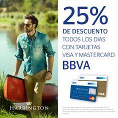 A partir del 15 de octubre 25% de descuento todos los días con tarjetas Visa y Mastercard BBVA en Harrington.