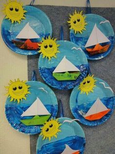 Fun & Easy Summer Crafts for Kids to Make – Back to School Crafts – Grandcrafter – DIY Christmas Ideas ♥ Homes Decoration Ideas Kids Crafts, Daycare Crafts, Summer Crafts, Toddler Crafts, Summer Art, Paper Plate Art, Paper Plate Crafts, Paper Plates, Ocean Crafts