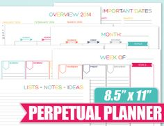 Simplify your life with this Perpetual Planner - Printable, Instant Download, Monthly, weekly, organizer - The Nifty Planner on Etsy.