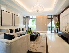 Black and white room mixing contemporary with traditional elements