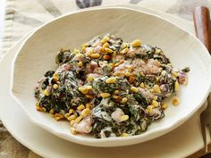 Healthy Creamed Swiss Chard with Pine Nuts