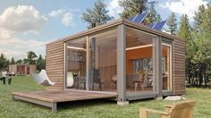 Container house with wood
