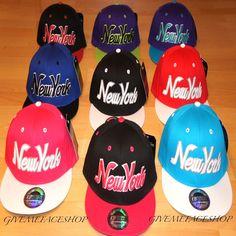 fc2095bf York Snapback Caps, Retro Vintage Flat Peak Hat, Ny Fitted Hip Hop Bling Cap