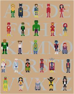 Pixel People - Superhero Alphabet Sampler - PDF Cross stitch PATTERN. $16.00, via Etsy.