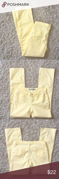 EXPRESS Yellow Precision Fit Jeans Size 2. Cotton / poly / spandex. Yellow color. Skinny fit. Express Jeans Skinny