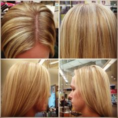 Cut and color by Kimber Euliss Aveda Fredrics Institute Indianapolis September 2012  Partial foil using Aveda Full Spectrum permanent hair color and Aveda Enlightener. Using two different color highlights gives dimension to her hair, but still keeps her every blonde.