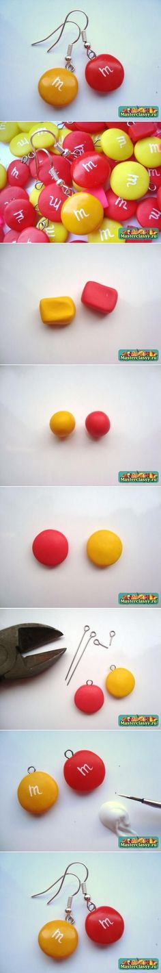 DIY Clay M and M Earrings diy crafts how to tutorial jewelry crafts teen crafts crafts for teens Crea Fimo, Fimo Clay, Polymer Clay Projects, Polymer Clay Charms, Polymer Clay Creations, Polymer Clay Art, Clay Beads, Polymer Clay Jewelry, Clay Crafts