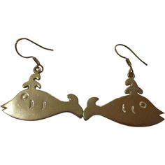 Vintage Sterling Silver Stylized Whale Earrings Folky .925 Mod Mexico Fish