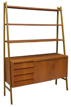 danish midcentury modern teak bookcase lot 298