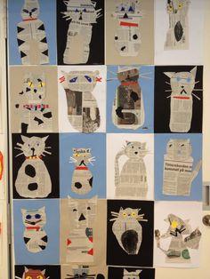 1. Klasse har arbejdet med bogen Mis med de blå øjne og sluttede med at lave disse skønne kattebilleder.
