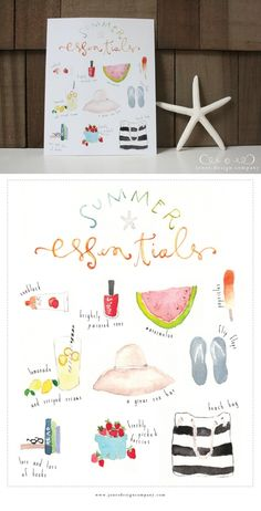 """Summer Essentials {Freebie Art Print}"" by Emily Jones via Jones Design Company on June 26, 2013   
