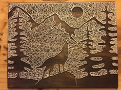 Wolf& Silhouette String Art by StringKits on Etsy Wolf Silhouette, Mountain Silhouette, String Art Diy, String Crafts, Resin Crafts, String Art Templates, String Art Patterns, Hilograma Ideas, Arte Linear