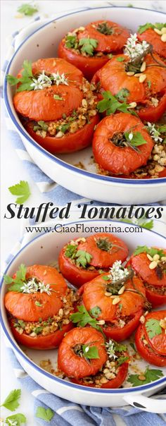 Stuffed Tomatoes or Pomodori alla Lucani, an Italian dish from Basilicata of baked tomatoes stuffed with toasted bread crumbs & pine nuts. Easy Appetizer Recipes, Lunch Recipes, Seafood Recipes, Vegetarian Recipes, Cooking Recipes, Healthy Recipes, Easy Recipes, Dinner Recipes, Vegetable Side Dishes