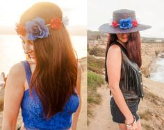 Red, White, and Blue Hippie Flower Headband OR Hatband on Genuine Leather Cord / Perfect Patriotic Fourth of July Boho Summer Accessories