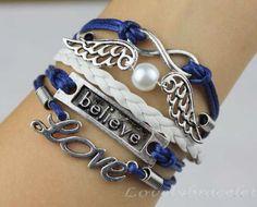 Infinite believe love bracelet, pearl bracelet wings, navy blue, wax rope, women's fashion bracelets
