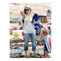 #KristenBell having a blast on the beach in her #RachelPally racerback tank!