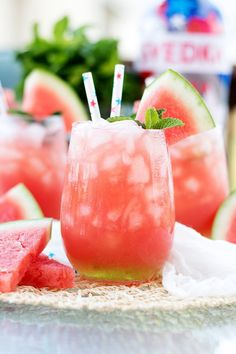 Simple and refreshing watermelon cooler that is perfect for these hot summer days and your next backyard BBQ!