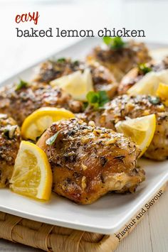 A simple gluten-free, one-pan baked lemon chicken dish made with a lemon-garlic herb sauce. Easy enough for a quick weeknight meal, fancy enough for a dinner party! #onepan #easy #paleo #baked #lemon #chicken #thighs #glutenfree