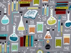 ONE YARD of 100% cotton fabric Gray with laboratory equipment and experiments. Academic Club line by Benartex  44 Wide 100% Cotton Machine Wash