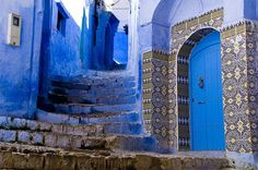 Chefchaouen, Morocco   Amazing blue everywhere in this small town. Apparently it keeps flies away but it's one of the most beautiful colours I've ever seen.