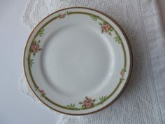 Vintage Haviland Limoges Pink Green Floral Bread & by thechinagirl