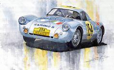 Yurly Shevchuk   WATERCOLOR    Porsche 550 Coupe 154 Carrera Panamericana 1953 Painting