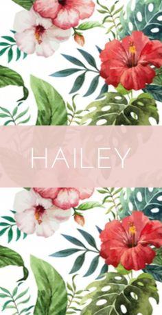Modern strak geboortekaartje met een achtergrond van tropische botanisch bloemen. Stoer voor een hip lief meisje!