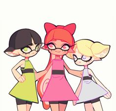flowersilk: the powerpuff girls….splatoon version!!! ♡ <:=