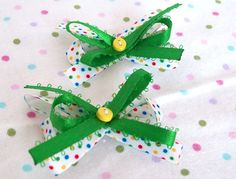 green and polka dot hair bows for little girls