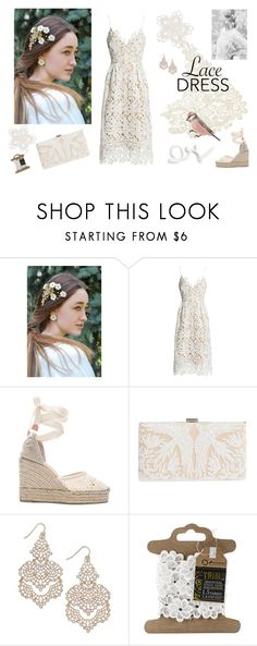 """""""Lace"""" by vualia ❤ liked on Polyvore featuring Sans Souci, Castañer, Tadashi Shoji, INC International Concepts, lace, laceearrings, laceaccessories, lacehaircomb and lacehairflowers"""