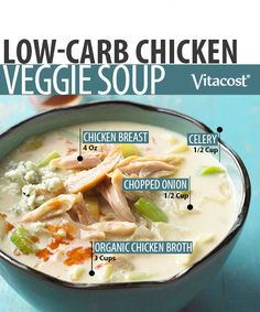 Whether a cold wind is blowing, a sleety rain falling or bone-chilling snow piling in the driveway, nothing warms you up like a bowl of homemade chicken soup. If you're on a low-carb diet, you know that it can be tricky finding one that steers clear of pasta. This low-carb version is made with veggies rather than noodles for a diet-friendly and delicious dish.