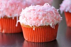 PRETTY IN PINK - Strawberry filled cupcakes topped with light, fluffy, fat-free frosting. Gives you a reason to eat more! Strawberry Filled Cupcakes, Strawberry Filling, Love Cupcakes, Yummy Cupcakes, Cupcake Wars, Cupcake Frosting, Cupcake Cookies, Muffin Tin Recipes, Cupcake Recipes