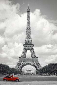 Paris - Red Car Poster