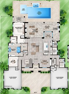 Main Floor for House Plan Luxury Floor Plans, Modern House Floor Plans, Luxury House Plans, Best House Plans, Dream House Plans, Small House Plans, Luxury Houses, House Layout Plans, House Layouts