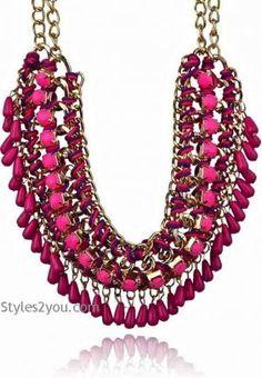 Beaded Collar Necklace n Dark Pink