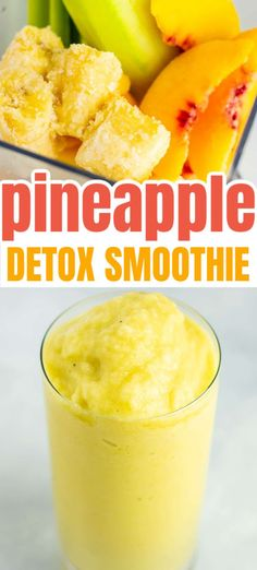 Pineapple Detox Smoothie Recipe - Build Your Bite Detox Breakfast, Breakfast Smoothies, Vegan Breakfast Recipes, Vegan Recipes, Cooking Recipes, Detox Smoothie Recipes, Good Smoothies, Juice Smoothie, Detox Recipes